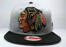 Chicago Blackhawks New Era 9Fifty Grand Logo Gray Snapback Hat Cap Hat NHL