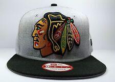 Chicago Blackhawks New Era 9Fifty Grand Logo Gray Snapback Hat Cap Hat NHL