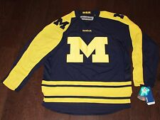 $120 New MICHIGAN WOLVERINES Hockey Jersey REEBOK Men's LARGE L Sewn Navy Blue