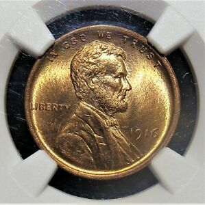 1916 1C Lincoln Cent MS65 Red and Brown NGC.