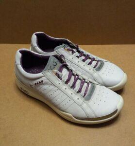 Ecco Biom Yak Leather Golf Shoes, Women's Sz 6-6.5 / EU 37 Grey/Purple Spikeless