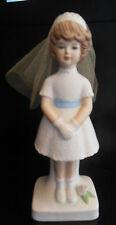 "6"" ENESCO Vintage Porcelain 1st FIRST COMMUNION Girl Figurine Material Veil 1981"