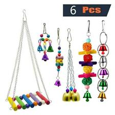 New listing Bulk Bird Parrot Toys Hanging Bell Pet Cage Hammock Swing Wooden Lot Set 6pcs