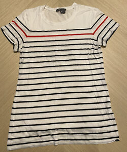 Vince Striped Navy & White T-shirt Women's Top Size Medium