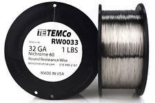 TEMCo Nichrome 60 series wire 32 Gauge 1 lb (5565 ft)Resistance AWG ga