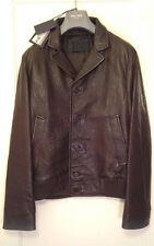 NWT AUTHENTIC Prada Men's Brown Leather Bomber Jacket-EU48 US M-Retail $2750