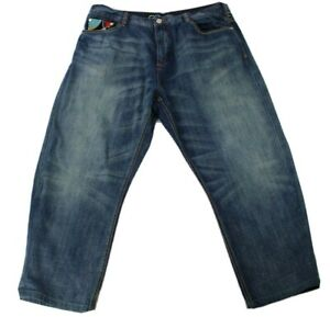 Coogi Authentic Australian Kings Of Color Embroidered Blue Denim Jeans 44
