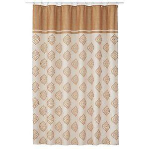 Estate Croscill Sonata Fabric Shower Curtain Gold Bohemian Paisley Pattern NEW