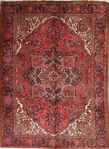 Vintage Geometric Red Heriz Long-Wearing Hand-Knotted Area Rug Wool Carpet 7x10