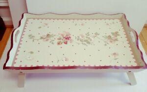 Vintage Wooden Breakfast Bed Tray w/ Handle NICE