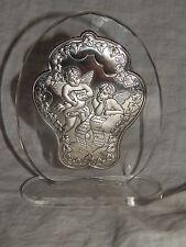 ITALIAN  STERLING  CHERUB , ANGEL ON GLASS  PLAQUE BY SETTINO CIELO