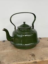 More details for vintage country kitchen kettle large enamel green & gold stove top 14pt 8l