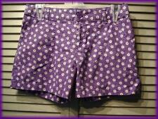 """SO Girl's Floral Casual Shorts (16) Purple & White Daisy Dots 28"""" waist 36"""" hips"""