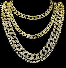Hip Hop Iced Out 4pc Chain Set 14k Gold Plated Miami Cuban 1 Row Cz Necklaces