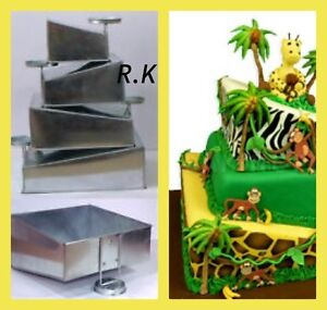 """4 Tier Topsy Turvy Square Cake Pans Tins New Design By EuroTins 6"""" 8"""" 10"""" 12"""""""