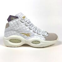 Reebok Question Mid Quilted White Party Mens 9.5 Iverson Leather Sneakers AR1710