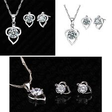 925 Silver Love Heart Crystal Pendant Necklace And Earring Jewellery Gift Set