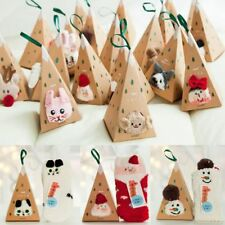 Adults Kids Gifts Set Box Santa Coral Fleece Slipper Socks Winter Xmas Christmas