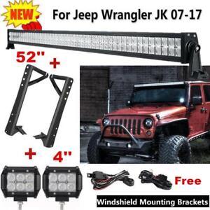 """For JEEP Combo 52"""" 3600W LED Light Bar+ 4""""Pods+ Mount Brackets Wrangler JK 07~17"""
