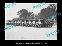 OLD HISTORIC PHOTO OF ADELAIDE SA, AMSCOL MILK & DAIRY Co ICE CREAM TRUCKS 1928