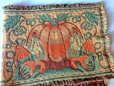 """LAST CALL Fringed Autumn Tapestry Table Mat Pumpkin Theme 34"""" by 13"""""""