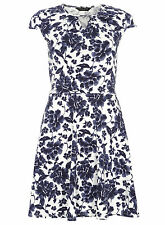 Dorothy Perkins Womens White Navy Blue Summer Floral Keyhole Dress Size 6