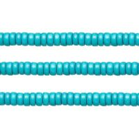 Wood Rondelle Beads Turquoise 8x4mm 16 Inch Strand