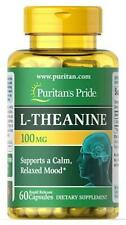 Puritans Pride L-theanine 2 BN Bottles 60 Caps Each 200 MG for Calm Relaxed Mood