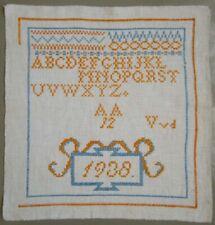1938 DUTCH ORANGE CROSS STITCH NEEDLEWORK SAMPLER BIRTHYEAR BEATRIX ROYAL FAMILY