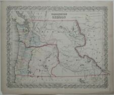 Original 1856 J.H. Colton Map WASHINGTON OREGON Indian Tribes Wagon Trails Forts