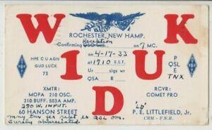 USA 1933 ham radio card W1DUK Rochester operator P Littlefield Jr & stamps