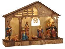 Holz LED Weihnachtskrippe Krippenstall Weihnachten Krippe Figur Tischkrippe