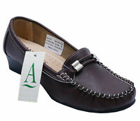 LADIES BROWN AMBLERS SLIP-ON SMART COMFY MOCCASIN CASUAL LOAFER SHOES