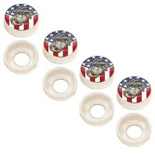 4 Chrome Custom License Plate Frame Screw Snap Caps Covers USA Flag Marine Corps