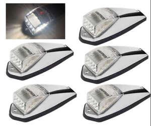 5*17LED White Cab Roof Marker Clearance Light Chrome Base for Peterbilt Kenworth