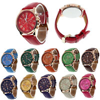 Fashion Geneva Womens Leather Band Stainless Steel Quartz Analog Wrist Watch
