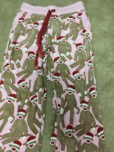 Nick And Nora Thermal Womens M Santa Sock Monkey Pajama Pants New