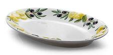 BASSANO große ovale Oliven-Zitronen Servierplatte italienische Keramik 40,5x28