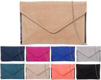 Ladies Faux Suede Envelope Clutch Bag Evening Bag Handbag Party Bag Purse K50292