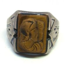 Vintage Men's Sterling Silver Tiger Eye Twin Warrior Cameo Ring