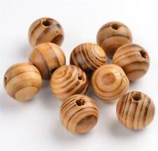 50 per bag 10mm STRIPED ROUND BURLY WOODEN BEADS 3mm HOLE