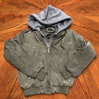 Ambiance women's Size S Small Cropped Hoodie Bomber Jacket Zip Moto Skater Green