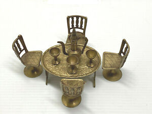 Vintage Miniature Copper Dining Room Set, Table,  4 Chairs,+ 4 Cups & Jug