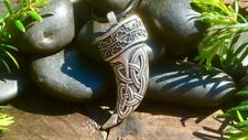 Antiqued Silver Plate Celtic Viking Fenrir Wolf Tooth Pendant Necklace
