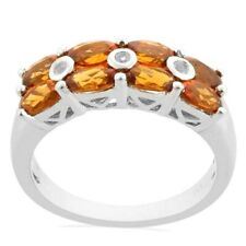 Mexican Fire Opal Orange Oval cut and White Topaz Cluster bend Silver Ring