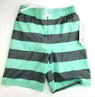 Cat & Jack Boys' Swim Trunks Teal Stripe - Size S Small 6/7