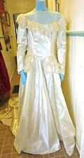 1939 Vintage Heavy Candlelit Satin Wedding Gown Lace Panniers Long Trained Dress