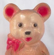 Teddy Bear Still Bank Plaster Brown Red Vintage Cute