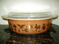 VTG PYREX EARLY AMERICAN 2.5 QUART OVAL CASSEROLE #45