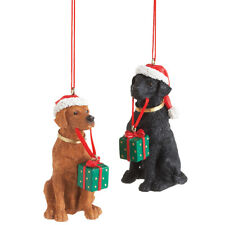 Labradors with Gift Ornament Set of 2 Free Ship USA with BIN